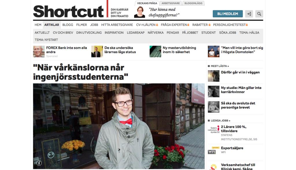 """Publicerad krönika """"När vårkänslorna når ingenjörsstudenterna"""" på Shortcut.nu"""